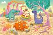 Dinosaurs in a prehistoric landscape. Vector illustration