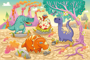 Dinosaurs in a prehistoric landscape. Vector illustration