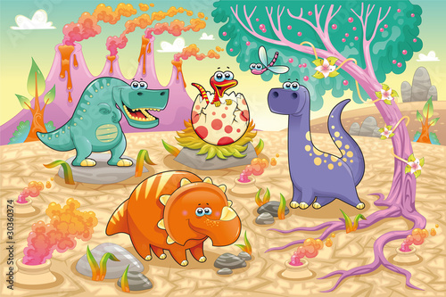 Foto op Canvas Dinosaurs Dinosaurs in a prehistoric landscape. Vector illustration