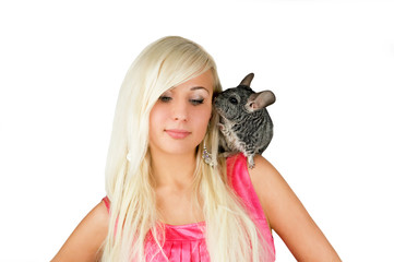 a girl and  a chinchilla