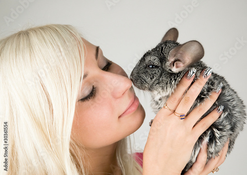 Chinchillas and a girl