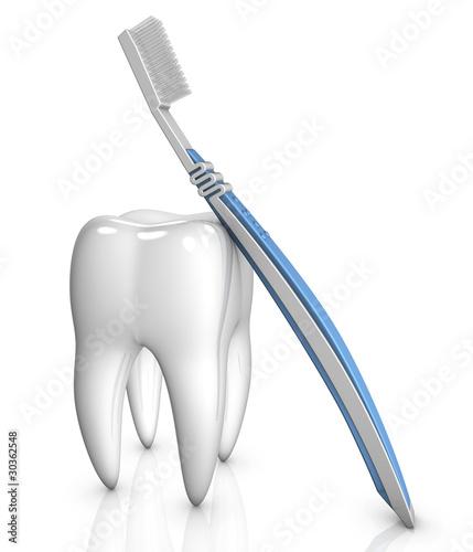 Zahn mit Zahnbürste