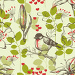 Bird and lilies vintage seamless pattern