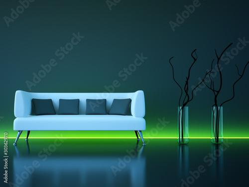 3d Sofa Rendering dunkelgrau mit grünem Neonlicht