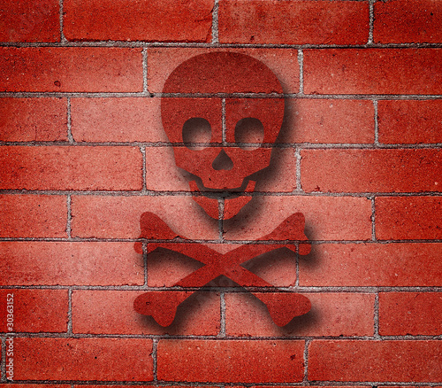 Red Brick Wall with Cross Bones Graffiti