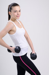 fitness sportive exercising with dumbbell