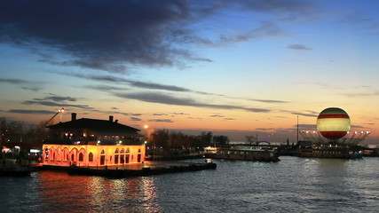 Kadikoy ferry port in sundown in Istanbul