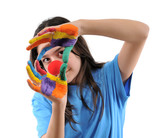 Harlequin teenager looking through her hands isolated. poster