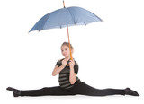 Young blonde girl sitting on twine and holding blue umbrella poster