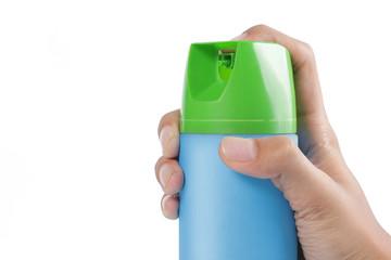 hand pushing spray can
