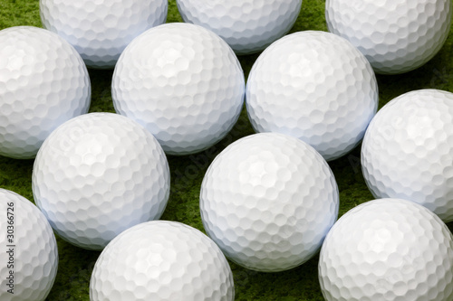 Close up of golf balls