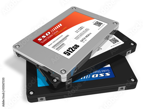 Leinwandbild Motiv Set of solid state drives (SSD)