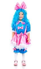 Little girl  with blue hair