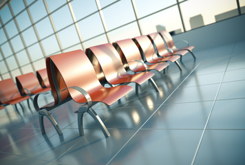 Airport seats. 3D render