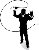 Outline Business man with whip