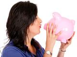 Woman cherishing her savings poster