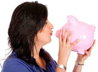 Woman cherishing her savings