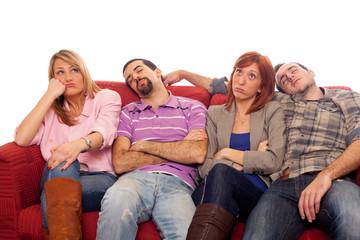 Bored Girls while Man Sleeping on Sofa
