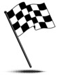 Vector checkered flag waving above the pole. No Gradients. - 30371388