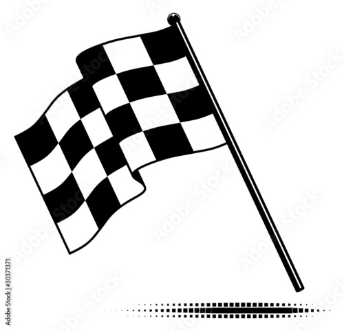 Vector checkered flag waving below the pole. No gradients.