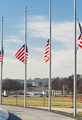 American Flags Half Mast WWII Lincoln Memorial