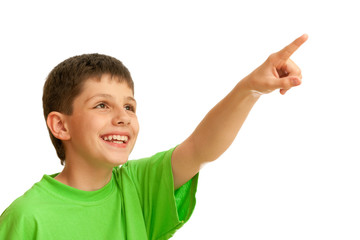 Laughing kid in green pointing up