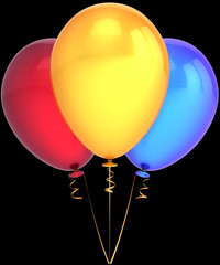 Party balloons shiny colorful red yellow blue on black