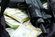 Stock Photo - Image of legs of burglar with bag full of stolen money in...
