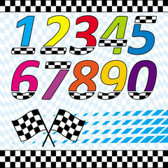 Racing theme design elements set & checkered background