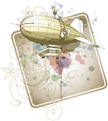 Dirigible balloon & floral calligraphy ornament - a stylized orc