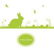 Frohe Ostern - Osterhase auf einer Wiese - Silhouette
