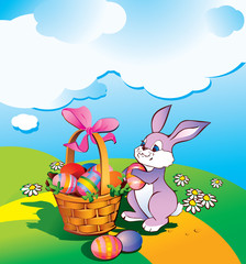 Easter bunny with a wicker basket. Happy Easter.