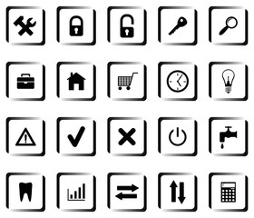 A set of buttons with symbols