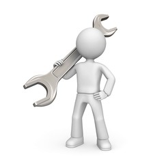 3d character with a spanner isolated on white.