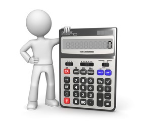 Abstract 3d character with calculator in hands.