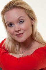Attractive blonde caucasian thirties woman