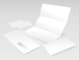 Blank Letter, Envelope, Business cards and booklet poster