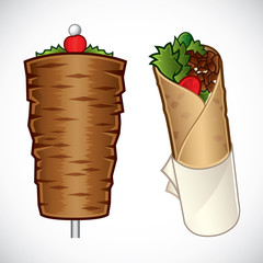Vector illustration of döner kebab and a kebab roll