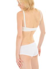 Part of beautiful fit slim woman body in white underwear from th