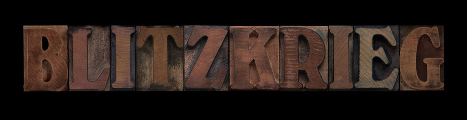 the word Blitzkrieg in old letterpress wood type