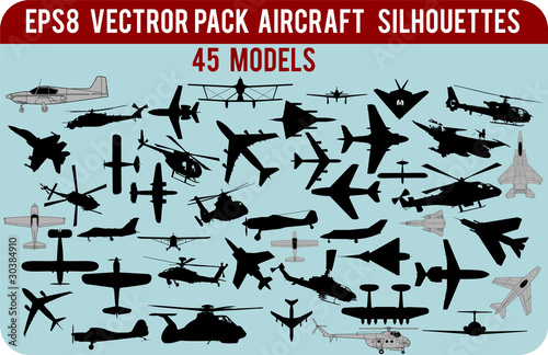 Detailed  vector silhouettes of civil and military aircraft pack