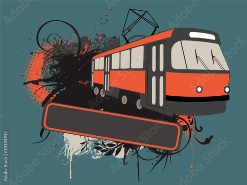 Vector tramway banner with ink splats and floral ornaments