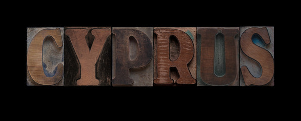 Cyprus in old wood type