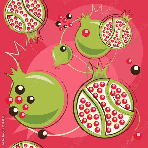 vector pattern of pomegranate