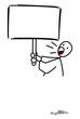 Homme qui hurle en tenant une pancarte vierge