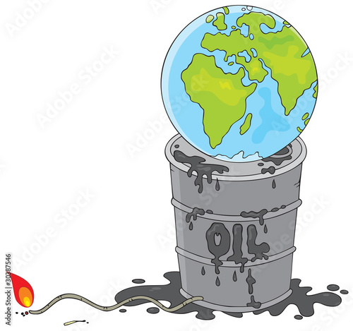 oil barrel vector. Earth on an oil barrel with a