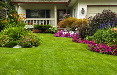 Manicured Spring Summer Residential yard