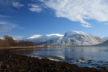 Ben Nevis from Corpach at the mouth of the Caledonian Canal.