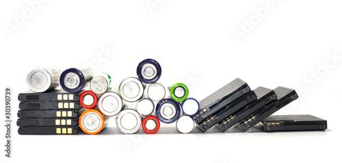 Leinwandbild Motiv Alte Batterien Entsorgen lassen. Ökologie