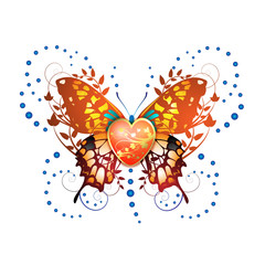 Stylized butterfly with heart for Valentine's day card